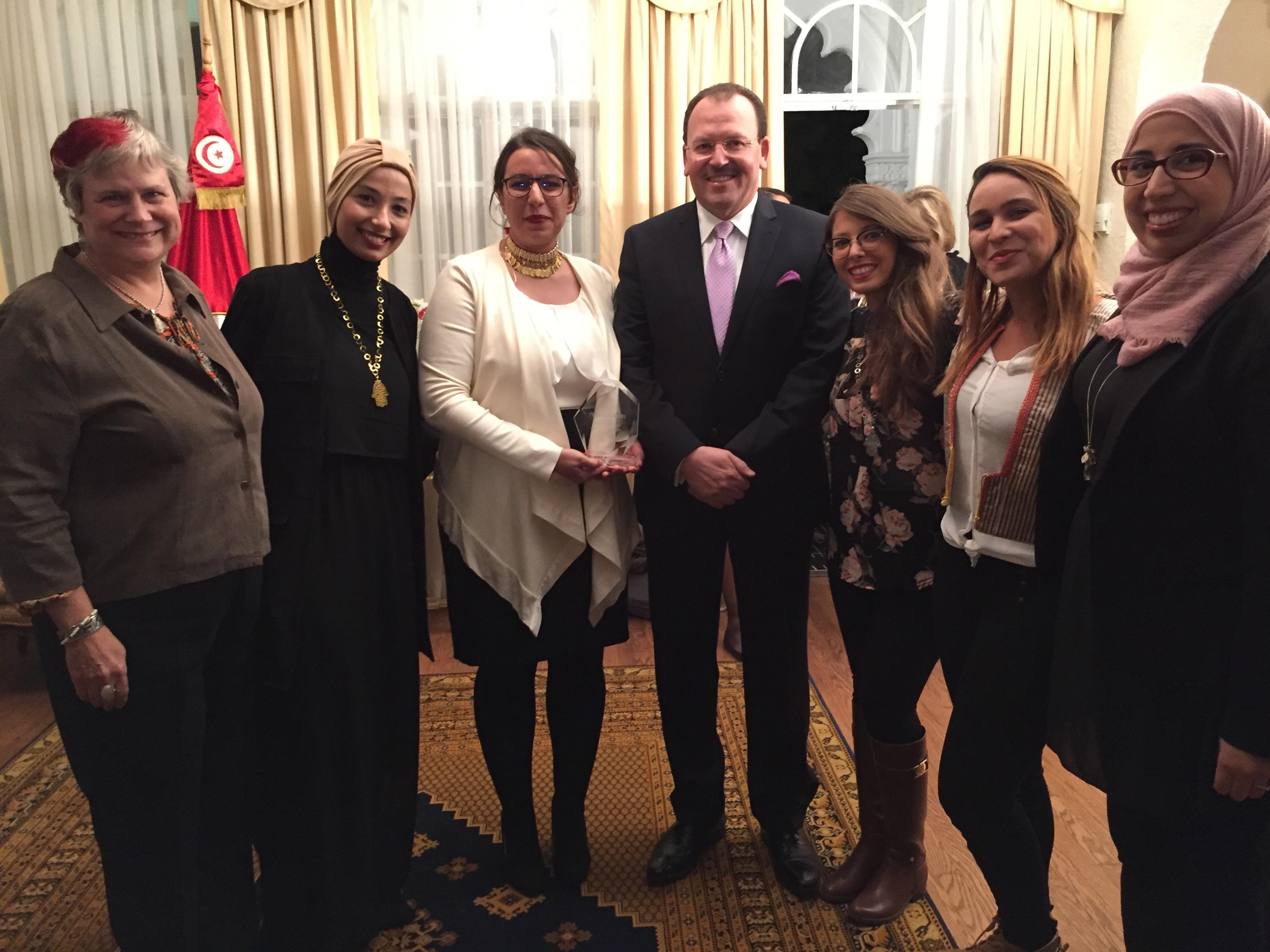 His Excellency Fayçal Gouia with TechWomen Team Tunisia at Ambassador's Reception, Washington DC, October 2016