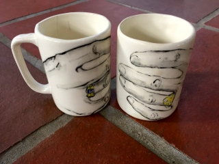 Coffee cups painted by Eleanor Dickinson 1995