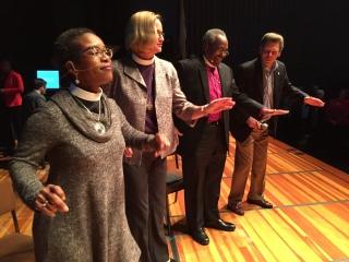 Canon Stephanie Spellers, Bishop Mary Gray-Reeves, Presiding Bishop Michael Curry, Joe Heston, Salinas, 7 Jan 2017