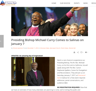 Presiding Bishop Michael Curry Comes to Salinas on January 7, 2017 realepiscopal.org