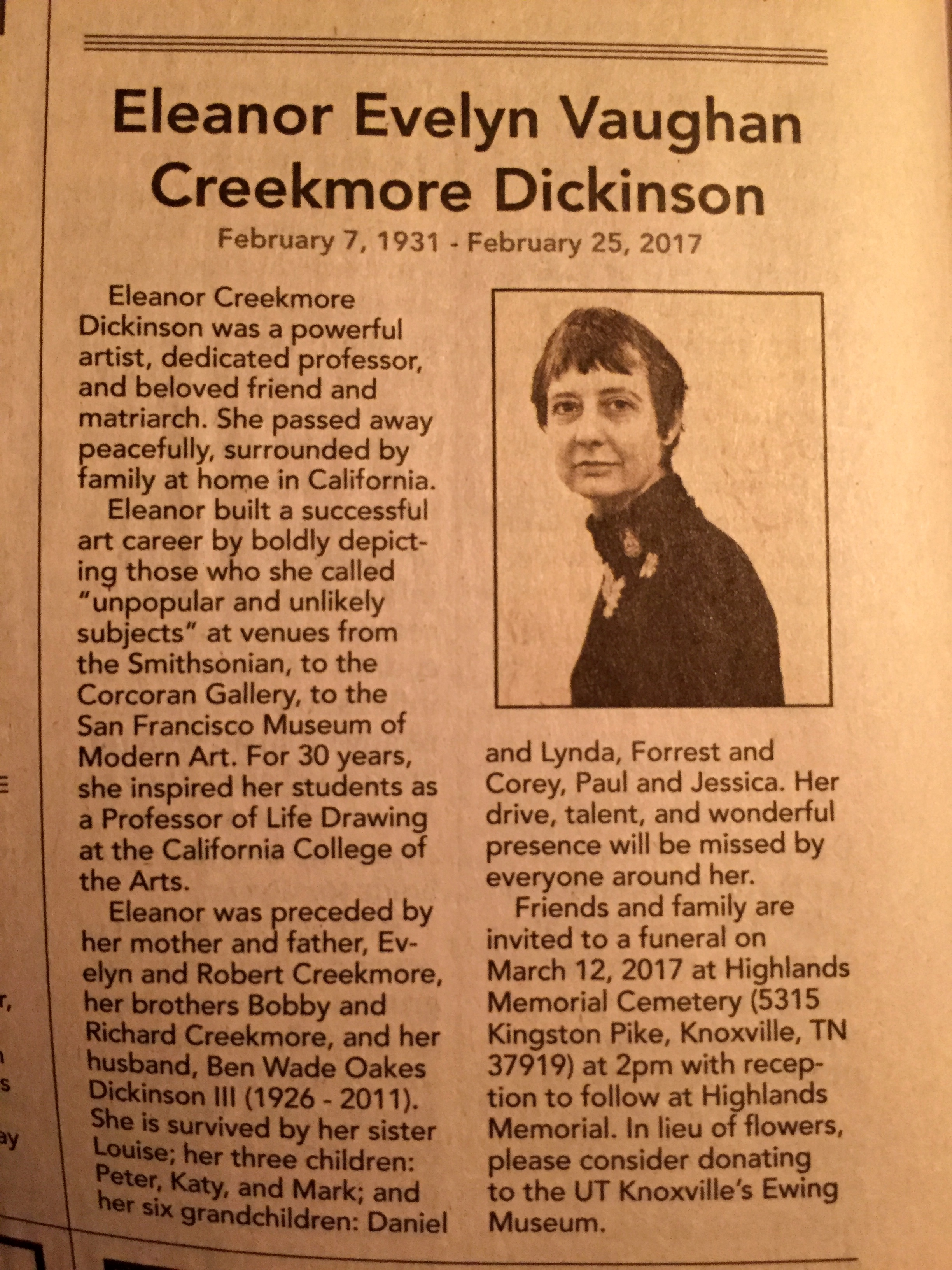 Eleanor Creekmore Dickinson Obituary March 2017