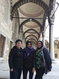 Katy Dickinson, Nandini Ramani, Judith Fleenor at Hagia Sophia Istanbul Feb 2017
