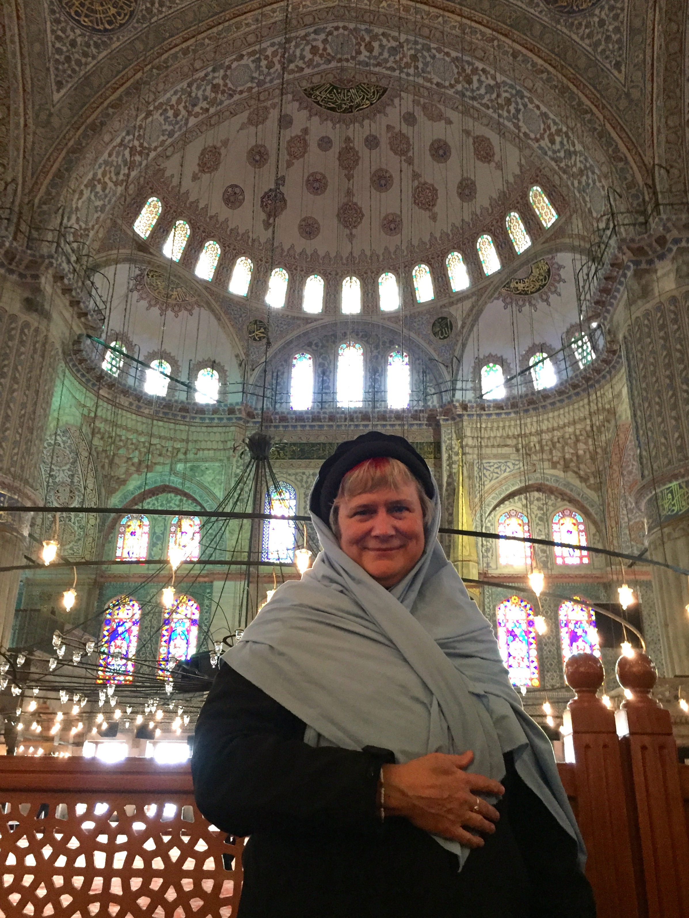 Katy Dickinson at the Istanbul Blue Mosque, Feb 2017