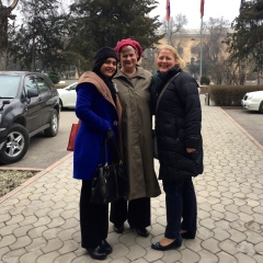 TechWomen Kyrgyzstan Delegation 2017 Katy Dickinson with Nancy Talbot and Rebecca Biswas