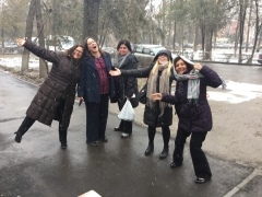 TechWomen Delegation Kyrgyzstan 2017 in the snow