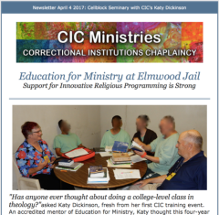 Correctional Institutions Chaplaincy CIC Ministries, Education for Ministry at Elmwood Jail Article, April 2017