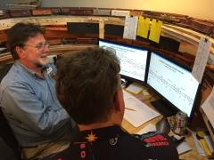 John Plocher with Jim Petro's model train layout control, 5 May 2017 IMG_0915