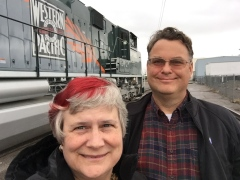 Katy Dickinson and John Plocher with UP1983 engine, Western Pacific Railroad Historical Convention, Reno Nevada, May 2017 IMG_1038