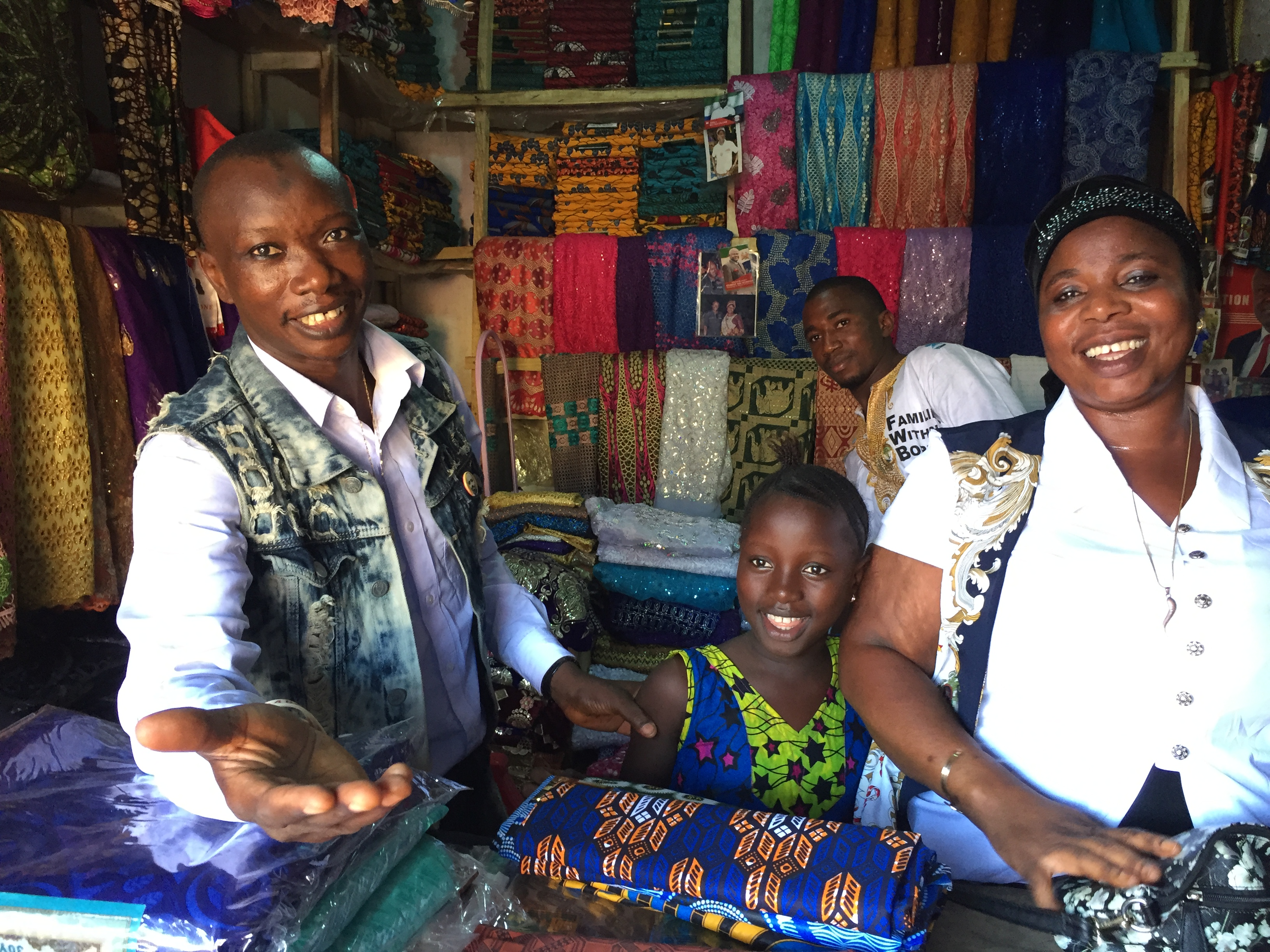 Fabric shopping, Sierra Leone, July 2017