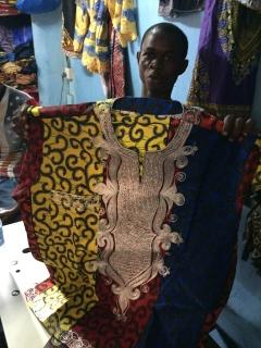 Embroiderer, Makeni, Sierra Leone, July 2017