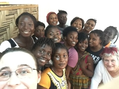 Jessica Dickinson Goodman and Katy Dickinson at Families Without Borders, Makeni, Sierra Leone, July 2017