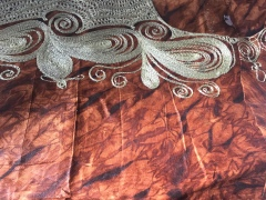 Kola nut fabric with embroidery, Sierra Leone, July 2017