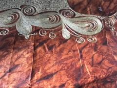 Kola nut fabric with embroidery, Sierra Leone, July 2017