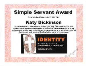 ECR Simple Servant Award to Katy Dickinson 3 Nov 2017