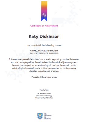 2017 FutureLearn University of Sheffield Crime Justice and Society certificate July 2017