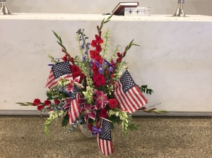 4th of July Independence Day flowers at Saint Andrew's Episcopal Church Saratoga California 2018