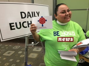 Rev. Nancy Frausto Handing out The Way of Love for Presiding Bishop Curry GC79, 5 July 2018, Austin TX