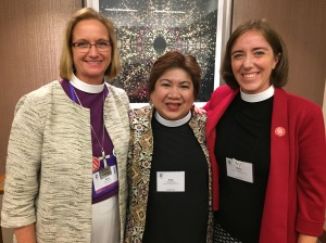 Bishop Mary Gray-Reeves, Rev. Ruth Casipit Paguio, Robin Denney at GC79, 5 July 2018, Austin TX