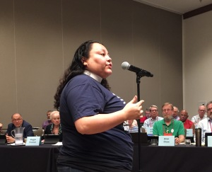 Rev. Nancy Frausto speaking for immigration reform GC79, 7 July 2018