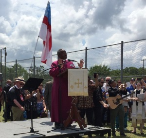 Presiding Bishop Michael Curry with Episcopal General Convention at Hutto Detention Center outside Austin TX 8 July 2018
