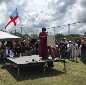 Presiding Bishop Michael Curry with Episcopal General Convention at ICE Hutto Detention Center outside Austin Texas, 8 July 2018