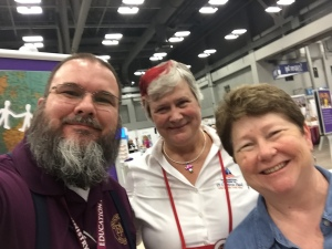 Dr. Joshua D. Booher, Katy Dickinson, Karen Meridith of Education for Ministry EfM at GC79 on 8 July 2018
