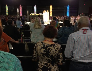 Bishop Mary Gray-Reeves presiding over Episcopal General Convention GC79 worship 9 July 2018