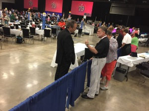 Alternates and Deputies in GC79 House of Deputies at border wall between house floor and side gallery on 12 July 2018