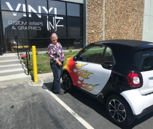 Katy Dickinson 2017 SmartCar with flame wrap