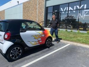 John Plocher 2017 SmartCar with flame wrap