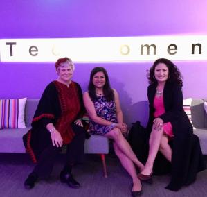 Katy Dickinson, Fatema Kothari, Mercedes Soria, TechWomen October 2018