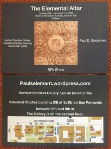 Paul D Goodman The Elemental Altar Exhibit Oct-Nov 2018