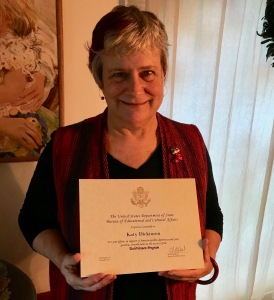 Katy Dickinson with TechWomen US State Department certificate Christmas 2019