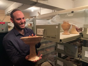 Aharon Tavger with chalice at Bade Museum, Pacific School of Religion, Berkeley, Nov 2019