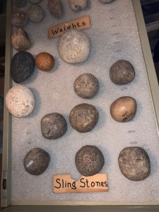 Sling stones at Bade Museum, Pacific School of Religion, Berkeley, Nov 2019