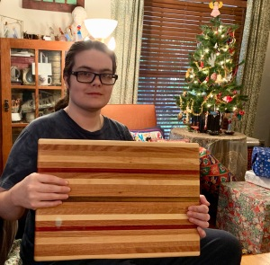 Paul D. Goodman with reclaimed hardwood cutting board Dec 2019
