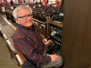 Ed Jacklitch sound technician, Consecration of Lucinda Ashby, 11 Jan 2020