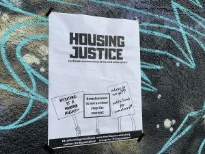The Village tiny house building, Oakland, 18 Jan 2020