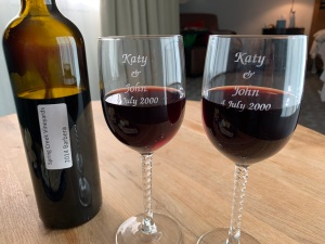 Katy and John wineglasses, 20th anniversary, 4 July 2020