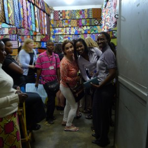 2014 TechWomen in fabric shop, Rwanda