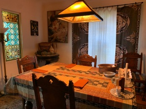 Dining room with African fabrics August 2020