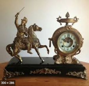 New Haven Gilt Clock, horseman figure