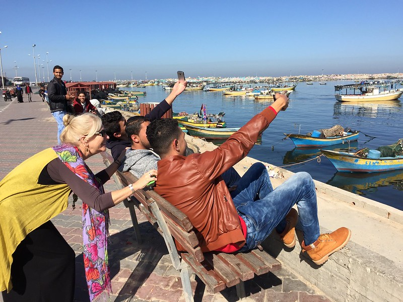 Eileen Brewer at Gaza City harbor, Feb 2016