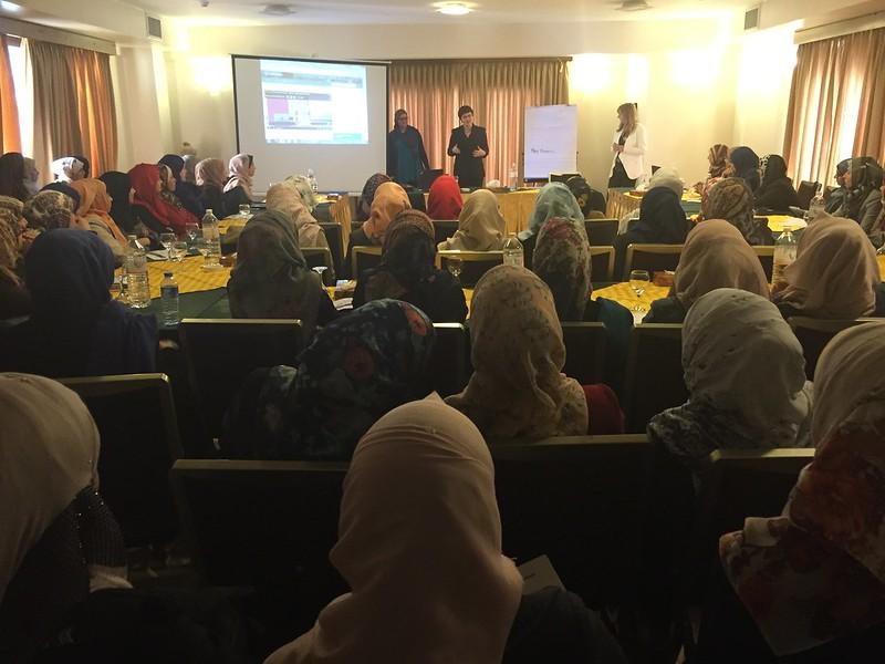 Jessica Dickinson Goodman and TechWomen presenting in Gaza City, Feb 2016